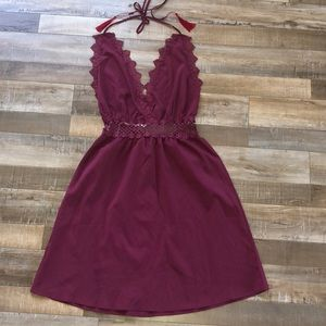 Maroon Halter Low Back Dress